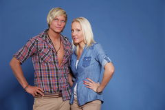 Confident couple young folded arms Stock Image