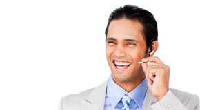Confident customer service agent with headset on Royalty Free Stock Photography