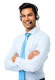 Confident Customer Service Representative Wearing Headset Royalty Free Stock Photography