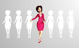 Confident 3D Digital Businesswoman Standing out of the Crowd. Confident, Dynamic 3D Digital Businesswoman steps out from the crowd of faceless, silhouetted stock illustration