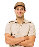 Confident Deliveryman Standing Arms Crossed Royalty Free Stock Photos