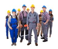 Confident diverse team of workmen and women Stock Image