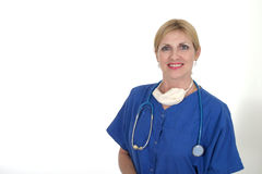 Confident Doctor or Nurse 10. Headshot photo of nurse or doctor with stethoscope and surgical mask after a successful surgery or operation or procedure Stock Image