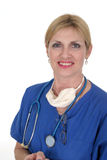 Confident Doctor or Nurse 8. Headshot photo of confident nurse or doctor with stethoscope, surgical mask, and glasses after successful surgery Stock Photo