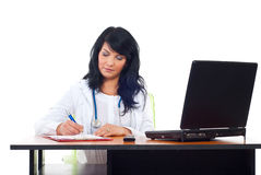 Confident doctor woman in office royalty free stock photo