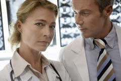 Confident Doctors By Brain Scans Royalty Free Stock Photo