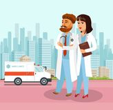 Confident Doctors at Hospital Flat Illustration. Nurse, Paramedic Cartoon Characters Walking. Clinic Back Yard. Ambulance, Healthcare and Medicine Vector royalty free illustration