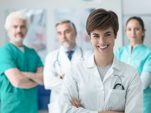 Confident doctors posing at the hospital royalty free stock photo