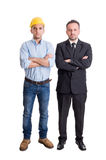 Confident engineer or builder and business man arms crossed Royalty Free Stock Images