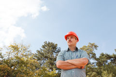 Confident engineer on construction site Stock Image