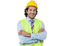 Confident engineer with hard hat Stock Photography
