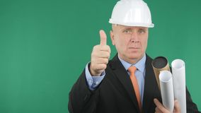 Confident Engineer Image Make Thumbs Up a Good Job Sign. royalty free stock photography