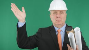 Confident Engineer Image Saluting With Hand Gestures royalty free stock photography