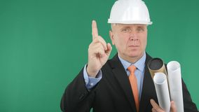 Confident Engineer Making Attention Hand Gestures With One Finger Sign Up royalty free stock images