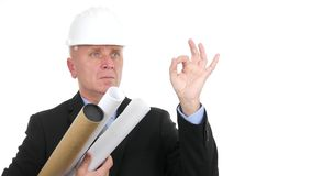 Confident Engineer with Projects and Plans Make Ok Sign Agreeing Hand Gestures.  stock video