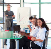 Confident enior businessman in a presentation Royalty Free Stock Image