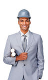 Confident ethnic architect wearing a hardhat Stock Photography