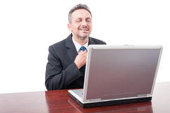 Confident executive manager adjusting tie. Preparing for new meeting isolated on white background Stock Images