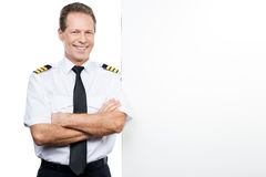 Confident and experienced pilot. Royalty Free Stock Image
