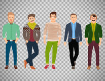 Confident fashion man on transparent background. Vector confident fashion man in casual clothes isolated on transparent background Royalty Free Stock Photo
