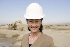Confident Female Architect At Construction Site Royalty Free Stock Photo