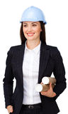 Confident female architect with a hardhat Stock Photos