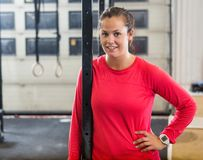 Confident Female Athlete in Cross Training Box Royalty Free Stock Images