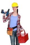 Confident female builder. I'm as good as any man Stock Photos