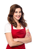 Confident female chef over white Stock Photos