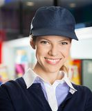 Confident Female Concession Worker At Cinema Stock Photos