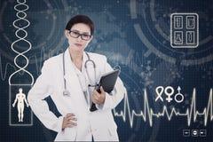 Confident female doctor on digital background Stock Photo