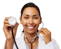 Confident Female Doctor Holding Stethoscope Royalty Free Stock Image