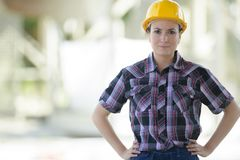 Confident female engineer outdoors royalty free stock photos