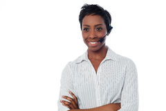 Confident female help desk executive Royalty Free Stock Photos