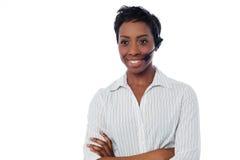 Confident female help desk executive Royalty Free Stock Photos