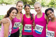 Confident female participants of breast cancer marathon Royalty Free Stock Image