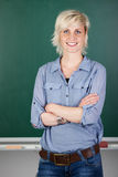 Confident Female Teacher In Front Of Chalkboard Royalty Free Stock Photo