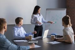 Confident female team leader giving presentation in meeting room. Confident female business coach or team leader giving presentation in meeting room presenting royalty free stock photos