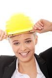 Confident female worker in helmet Royalty Free Stock Photos
