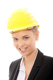 Confident female worker in helmet Stock Images