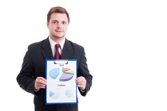 Confident financial manager or broker showing chart statistics a Royalty Free Stock Images