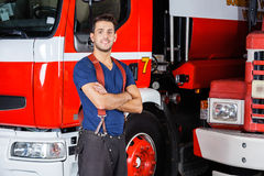 Confident Firefighter Standing Arms Crossed Royalty Free Stock Photos
