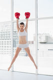 Confident fit brown haired model in sportswear jumping and wearing boxing gloves Stock Images