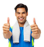 Confident Fit Man Gesturing Thumbs Up Royalty Free Stock Photo