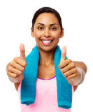 Confident Fit Woman Gesturing Thumbs Up Stock Images