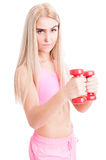 Confident fitness or aerobic girl holding weights Royalty Free Stock Photo