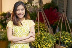 Confident flower shop owner royalty free stock photography