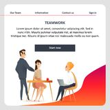 Confident Freelance Character Meeting on Coworking. Smiling Man Sitting on Chair with Laptop. Teamwork of Male and Female Freelancer in Shared Workplace. Flat stock illustration