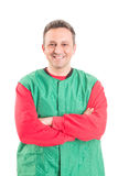 Confident and friendly hypermarket worker Royalty Free Stock Image
