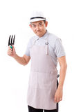 Confident gardener, hand hoding gardening tool Stock Photo